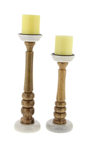 Deco 79 94554 Tapered Mango Wood Candle Holders (Set of 2), 12