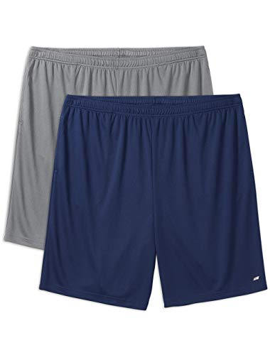 Amazon Essentials Men's Big & Tall 2-Pack Performance Shorts, Medium Gray/Navy, 2X -