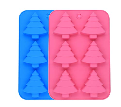 - PONECA 2 PCS Silicone Mold Christmas Tree for Cake Decoration Jelly Pudding Candy Chocolate 6 Holes with Gift (Christmas Tree)