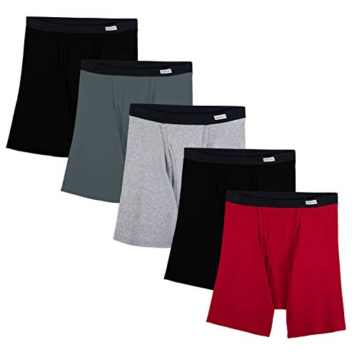 Fruit of the Loom Men's No Ride Up Boxer Brief (5-Pack), Assorted (Covered Waistband), X-Large
