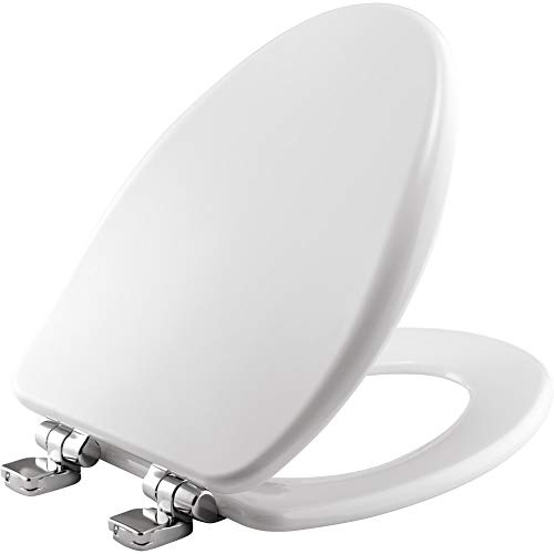 BEMIS 19170CHSL 000 Toilet Seat with Chrome Hinges will Slow Close, Never Loosen and Provide the Perfect Fit, ELONGATED, Durable Enameled Wood, White Bemis Toilet Seat Hinges