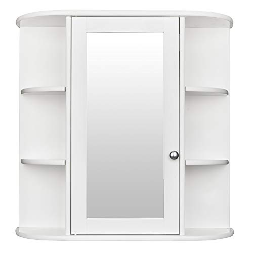 Bonnlo Bathroom Wall Mounted Cabinet 6 Shelvs Single Door Mirrior Indoor Kitchen -