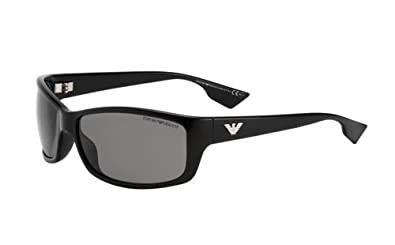 Amazon.com: Emporio Armani Mens Shiny Black Frame Grey Lens ...