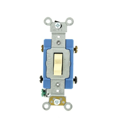 mp, 120/277 Volt, Toggle Double-Pole AC Quiet Switch, Extra Heavy Duty Grade, Self Grounding, Back and Side Wired, Ivory ()
