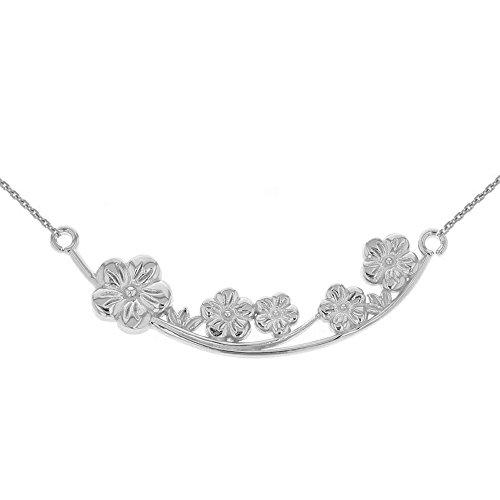 Branch Flower Plum (Women's Sterling Silver Plum Blossoms Necklace Flower Branch, 20