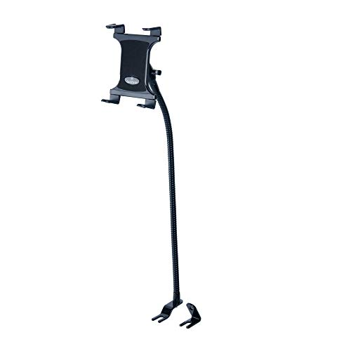 Gooseneck Tablet Mount for Car and Truck - TACKFORM [Commuter Series] Industrial 28 Inch Steel Coil Gooseneck Seat Rail Device Holder for Taxi, Van, Vehicle. Supports iPad, Galaxy, Surface Pro