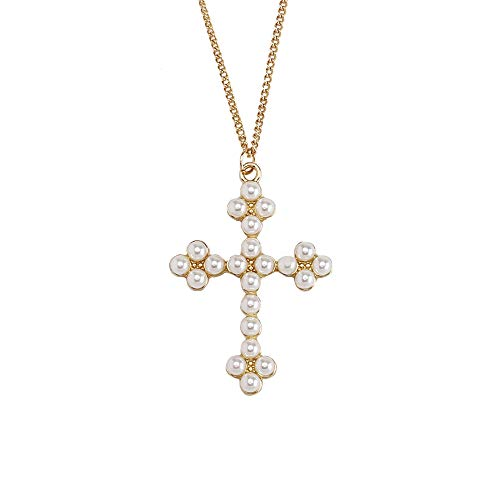 - KuiZhi Original Handmade Imitation Pearl Inlaid Cross Pearl Necklace Thickened with Gold Plated