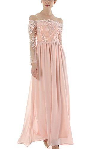 Damen Spitzen Brautjungfer Maxi Kleid Von Schulter Partei Kleid Pink ...