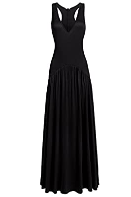 Beyove Women's V-Neck Stretchy Loose Fit Tank Racerback Pleated Casual Sexy Maxi Dress