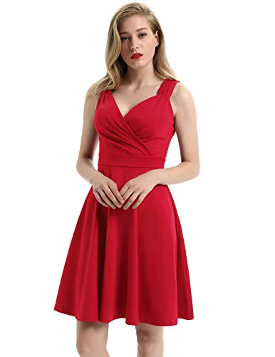 GRACE KARIN Women 50s 60s Vintage Sleeveless VNeck Cocktail Swing Dress