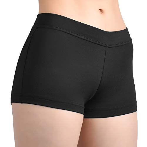 SUPRNOWA Girl's Women's Boy Cut Low Rise Lycra Spandex Active Dance Shorts Yoga Workout Fitness (Black, - Polyester Dance