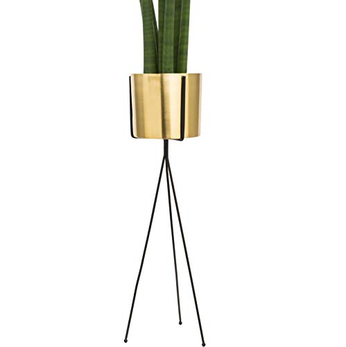 Modern Brass Gold Planter with Metal Plant Stand | 7 Inch Large Pot with Black Mid Century Stands | Flower Pot Living Room Decor | for Orchid, Aloe, Cactus Plants | 24 Inch Tall | Indoor Decoration