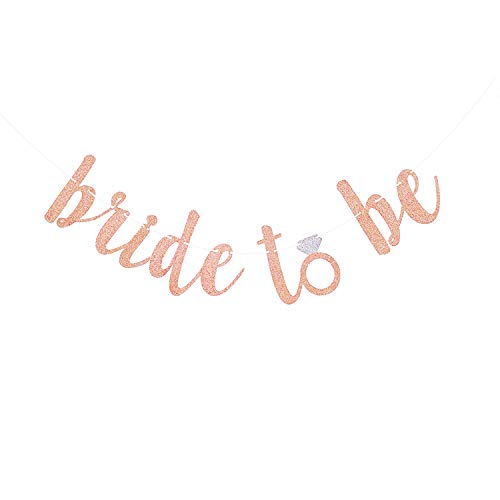 (Famoby Rose Pink Glittery Bride To Be Banner for Engagement Wedding Party Bachelorette Party Decorations Supplies)