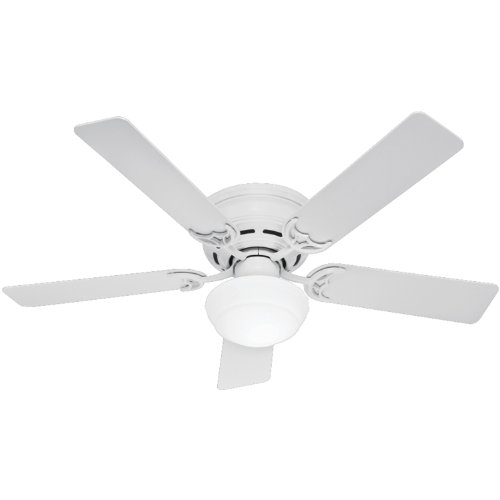 19th Ceramic Hole - Hunter 53075 Low Profile lll Plus 52-Inch Five Blade Single Light Ceiling Fan with White Blades and Frosted Glass Globe, White