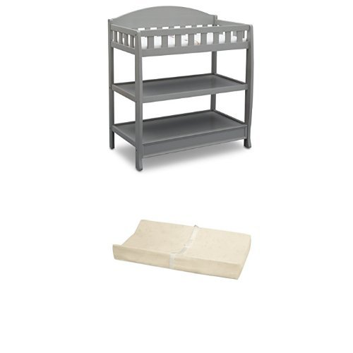 Delta Children Infant Changing Table with Pad, Grey and Simmons Kids Beautysleep Naturally Contour Pad