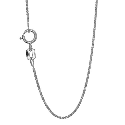 - JewelStop 14k Solid White Gold 0.6 mm Spiga Wheat Chain Necklace, Spring Ring - 16