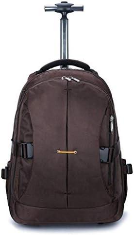 BAJIMI ハイキングバックパック、学生のバックパック、ローリングバックパック旅行ホイルラップトップバックパックレディースメンズトロリー荷物のスーツケースビジネスバッグ・カレッジスクールコンピューターバッグ、ブラウン、M