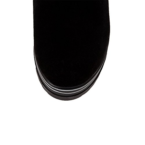 AllhqFashion Womens High-Heels Frosted Low-top Solid Pull-on Boots Black 1ZpojSKulP