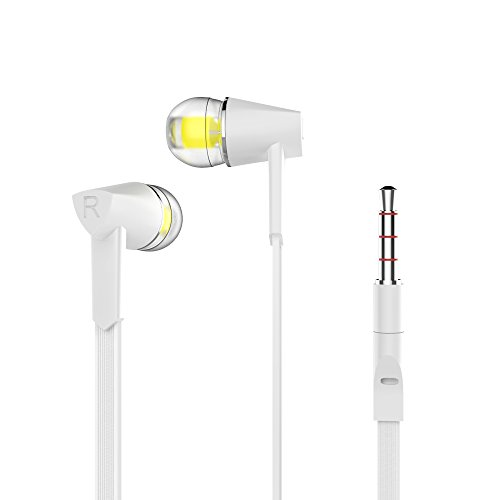 Flat Stereo Headphones (Wired Headphones Stereo Earphones In-Ear Earbuds Control Crystal Sound with Mic White)