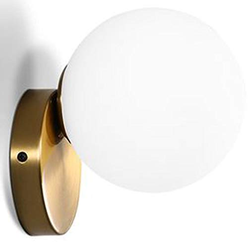 IJ INJUICY Globe Glass Wall Sconce, Frost White with Brass Finish, Ball Wall Light for Bedside, Corridor, Aisle, Staircase, Living Room, Restaurant (Width: 6.6 Inch)