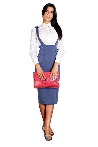 Femmes Denim Boutons Jupe Classique avec Haute Bretelles Taille FASHION Viscose FA37 Mi FUTURO Crayon Longue TwCUqKgt