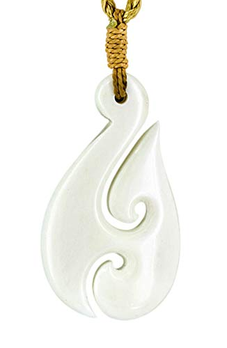 Hook Meaning Maori Fish (Earthbound Pacific Stylized Zealand Maori White Bone Fish Hook Necklace with Koru)