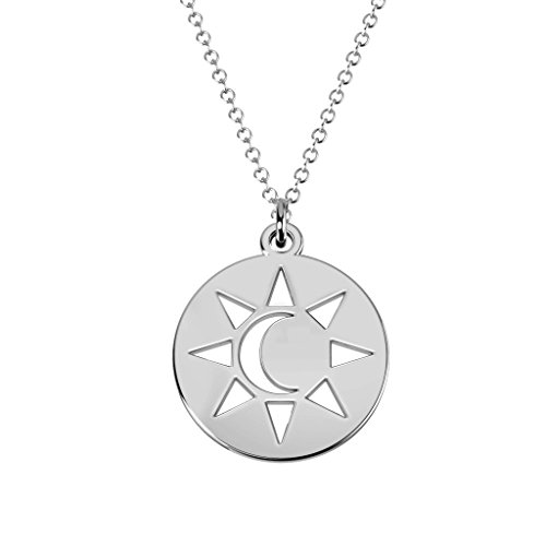 Sterling Silver Sun And Moon Cutout Disc Necklace by JEWLR