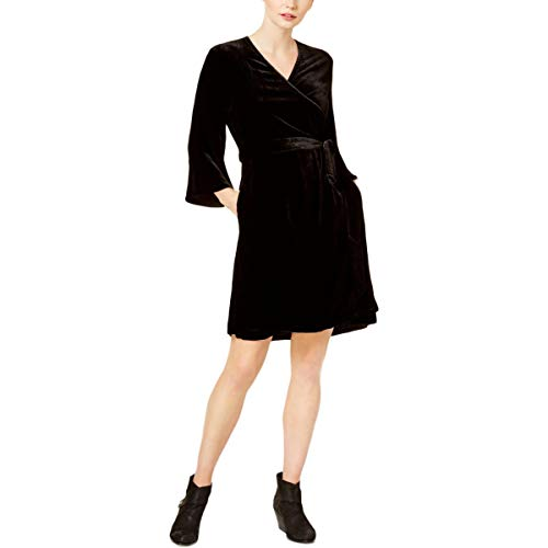 Eileen Fisher Womens Velvet Bell Sleeve Wrap Dress Black M