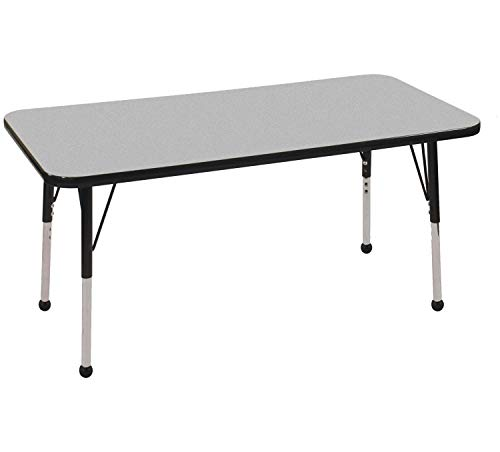 "ECR4Kids Everyday T-Mold 24"" x 48"" Rectangular Activity School Table, Standard Legs w/Ball Glides, Adjustable Height 19-30 inch (Grey/Black)"