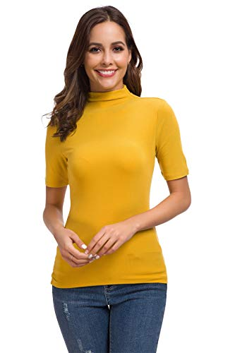 Womens Long Sleeve/Half Sleeve Slim Fit Mock Turtleneck Stretch Comfy Basic T Shirt Layer Top