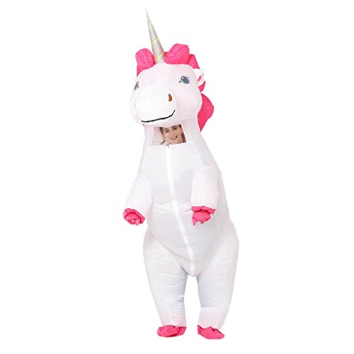 Adult Unisex Inflatable White Unicorn Halloween Party Costumes Full Face Air Suits ()