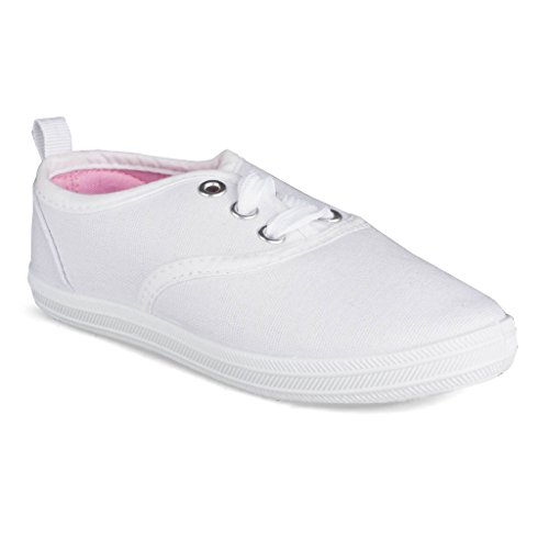 Next Shoes Kids ([SBK207-WHITE-Y3] Girls Canvas Sneakers: Lace-Up Tennis Shoes Youth Size 3)