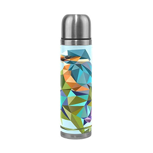 WangH Stainless Steel Kingfisher Halcyon Water Bottle Thermos- Insulated Vacuum Cup, Leather Cover 17 oz Travel Mug for Kids Adults