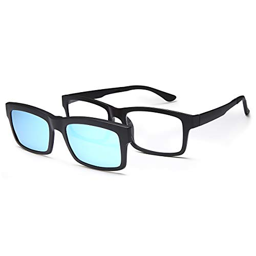 VVDQELLA TR90 Reading Glasses 2.0 with Blue Magnetic Sunglass Clip on Polarized Shade Sunglasses Women Men (Blue, 2.0X)