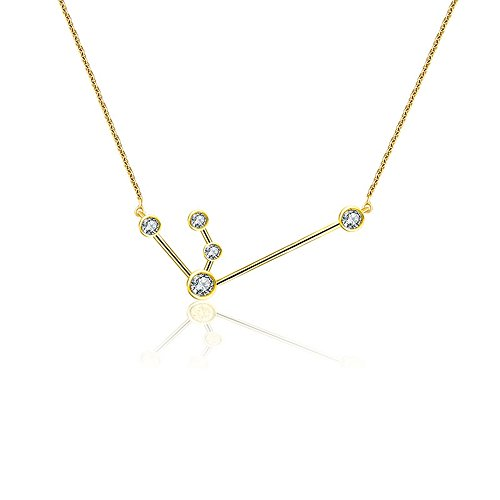 Genevieve Collection 14k Gold Aquarius Diamond Necklace (0.10 ct.), 45cm (Yellow, gold)