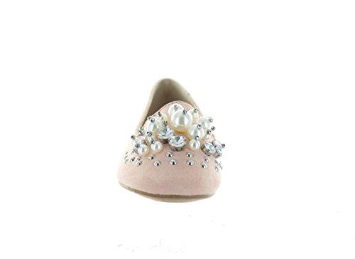 Stedelijke Hakken Dames Beverly-02 Parelaccent Ballerina Lage Hak Plat Roze