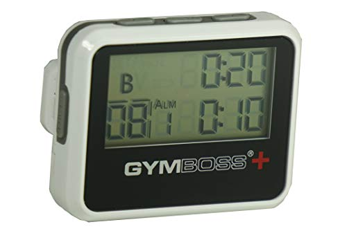 Gymboss Plus Interval Timer and Stopwatch - White/Black HARDCOAT (Run Walk Interval Timer)