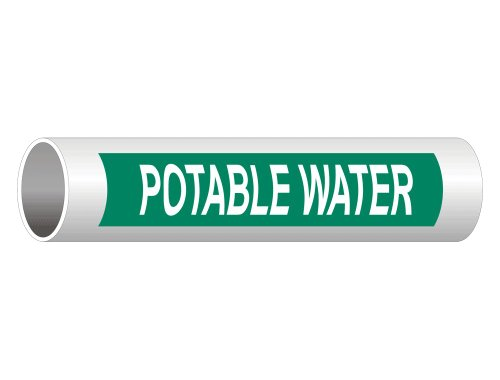 ComplianceSigns Vinyl ASME A13.1 Water Pipe Label, 8 x 2 Inch Green 5-pack