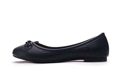 Mila Lady Dana03 Estampado En Relieve Sintético Pu Mujeres Ballerina Zapatos Planos Negro