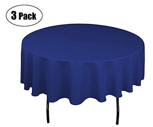 Minel Disposable Party Table Cloths Round 84 Inches 3 Pack Royal Blue