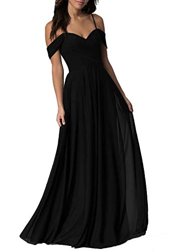Miao Duo Floor Length Black Bridesmaid Dresses Chiffon Long Evening Prom Dress