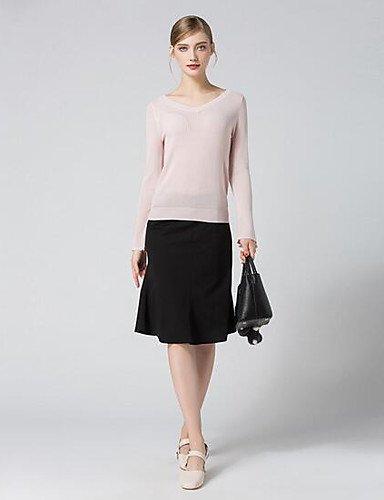 BaiChunYunYi Damen Standard Strickjacke-Lässig Alltäglich Solide V-Ausschnitt Langarm Andere Herbst Mittel Mikro-elastisch
