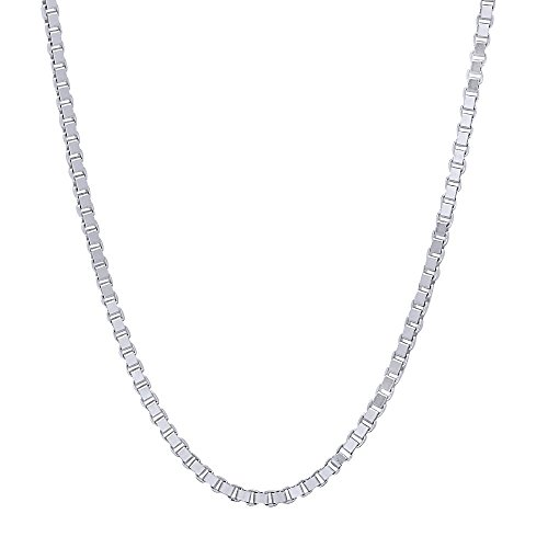 1.5mm Solid 925 Sterling Silver Box Chain Italian Crafted Necklace, 20 inches + Microfiber Jewelry Polishing Cloth