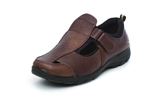 Walking Casual Fit Comfort Wide Touch Mens Fasten Summer SFO Brown Shoe Toe Closed Sandal aYgzqW4