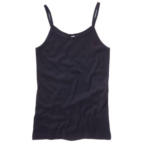 B&C Camiseta de tirantes Spaghetti en canalé fino para chica/mujer Negro