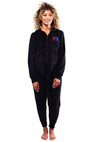 Ultra Game Women's NBA Bc Sleepwear Super Soft Fleece Onesie Pajama Hooded Jumpsuit, Philadelphia 76ers, Black, Small