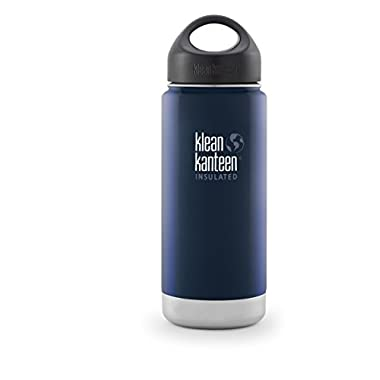 Klean Kanteen Wide Insulated Bottle with Stainless Loop Cup, Deep Sea, 16-Ounce