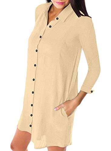 V Button Tunic with Pocket Z Dress Long Collar apricot Down Astylish Sleeve Women's 4qTOOwR5