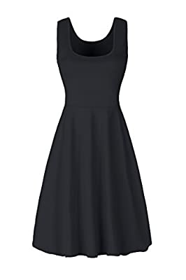 MISFAY Women's Summer Beach Cotton Casual Sleeveless Flared Tank Dress