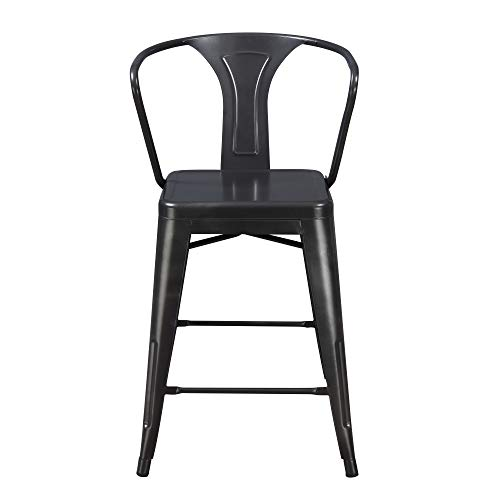 Archer 24 Bar Stool in Sleek Charcoal with Solid Metal Seat, Back, And Legs, Set of Two, by Artum Hill